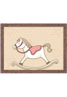 Quadro Decorativo Infantil Cavalo De Balanço Madeira - Médio
