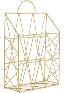 Porta Revista Com Recortes- Dourado- 38X25X9Cm- Mart