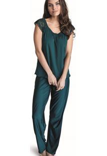 Pijama Longo Arpa Demillus 85123 Verde Esmeralda - Tricae