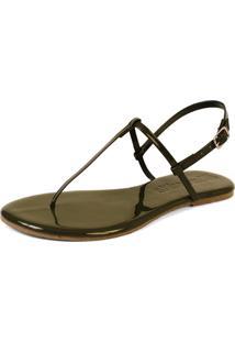 Sandália Rasteira Mercedita Shoes Verniz Verde Militar Ultra Macia - Tricae