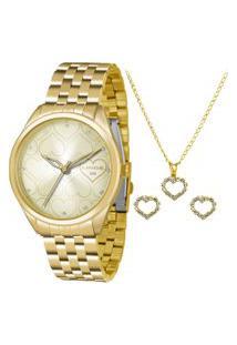 Kit De Relógio Analógico Lince Feminino + Colar + Par De Brincos - Lrg4345L K996C1Kx Dourado