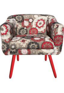 Poltrona Decorativa Julia Estampado Floral Vermelho D32 Com Strass Pã©S Vermelho - D'Rossi - Vermelho - Dafiti