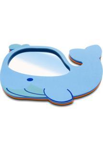 Espelho Baleia- Espelhado & Azul Claro- 15X23X1Cm