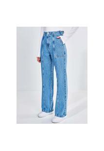 Calça Jeans Reta Oversized