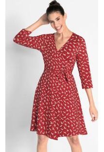 Vestido Com Amarração Estampado Vermelho
