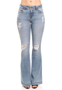 Calça Jeans Colcci Flare Destroyed Azul