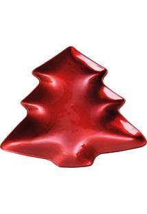 Sousplat Pinheiro Metalizado- Vermelho- 2X23X26Cm