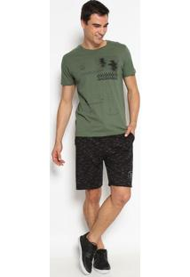 """Camiseta """"Sol Sal Mar""""- Verde Militar & Preta- Limitlimits"""