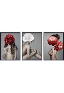 Quadro 60X120Cm Astra Mulher Com Flores Vermelha E Branca Moldura Preta Com Vidro