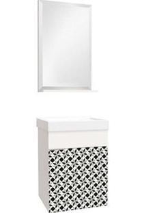 Gabinete Para Banheiro Club 40Cm Com Lavatório E Espelheira Mosaico Bumi