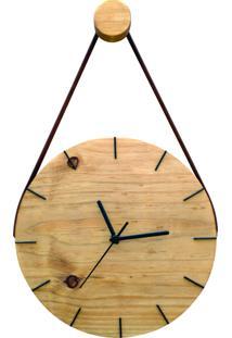 Relógio De Parede Minimalista Imbuia Com Alça Marrom + Pendurador