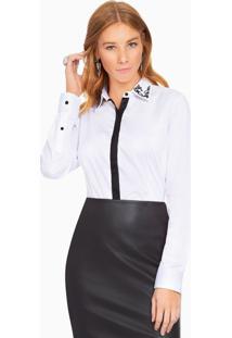 c8cad4658 Ir para a loja  -5% Camisa Social Feminina Branca Com Bordado Principessa  Lara