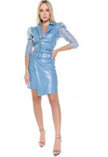 Jaqueta Curta Renda - Caos Azul