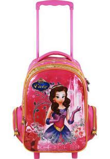 Mochila Com Carrinho Princesa - Pink & Rosa - 41X28Xtravel Max