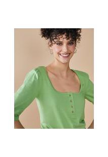 Amaro Feminino Blusa Algodão Com Botões Ombro Franzido, Verde