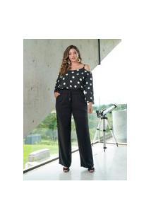Blusa Alça Bolas Almaria Plus Size She Brand Poá Preto