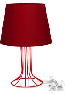 Abajur Torre Dome Vermelho Com Aramado Vermelho