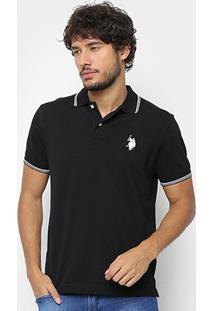 Camisa U.S. Polo Assn Lisa Diferenciada Masculina - Masculino-Preto