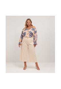 Calça Pantacourt Em Sarja Lisa Com Cinto Curve & Plus Size | Ashua Curve E Plus Size | Rosa | 48
