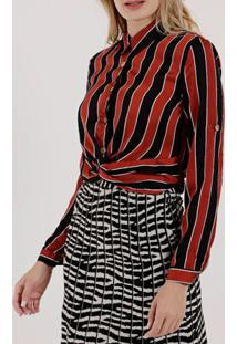 Camisa Manga Longa Feminina Vermelho/Preto