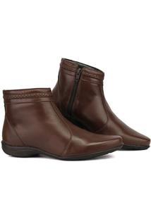 Bota Sapato Fran Coturno Cano Baixo Feminina - Feminino-Marrom