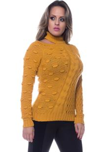 Blusa Look Lovers Gola Shocker Pipoca Caramelo. - Tricae