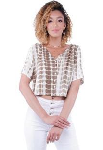 Blusa Tie Dye Abotoamento Frontal Pop Me Feminina - Feminino-Verde Militar