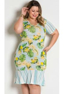 Vestido Mix De Estampa Floral E Listrasplus Size