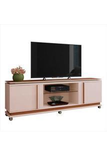 """Rack Para Tv De 70""""Com 2 Portas Level-Hb Móveis - Off White / Nature"""