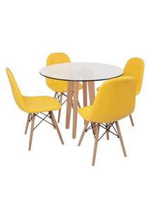 Conjunto Mesa De Jantar Em Vidro 90Cm Com Base Vértice + 4 Cadeiras Botonê - Amarelo