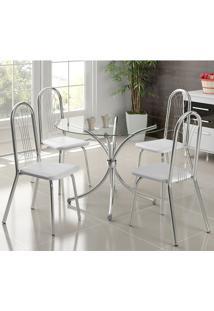 Mesa 375 Com Vidro Incolor Cromada Com 4 Cadeiras 182 Branca Carraro