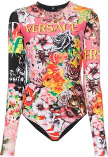 Versace Body Floral De Mangas Longas Com Zíper - A7000 Multicolor