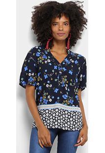 Camisa Mi Manga Curta Feminina - Feminino-Azul