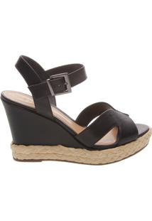 Sandália Anabela Leather Black | Schutz