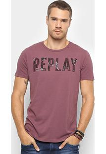 Camiseta T-Shirt Replay Dark Flowers Masculina - Masculino-Bordô