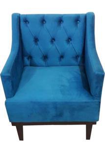 Poltrona Decorativa Clássica Capitonê Suede Azul Veludo - Ds Móveis - Kanui