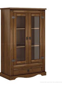 Cristaleira 2 Portas E 1 Gaveta Com Vidro Rusco Em Madeira Maciça Imbuia - Urbe Móveis