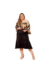 Blusa Ciganinha Almaria Plus Size She Brand Multicolorido