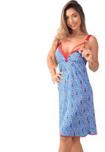 Camisola Amamentaã§Ã£O Vip Lingerie Microfibra Lisa Azul - Azul - Feminino - Dafiti