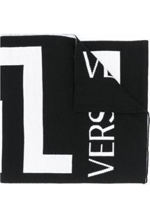 Versace Cachecol De Jacquard Com Logo - Preto