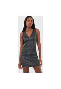 Vestido Triton Curto Recortes Resinados Preta