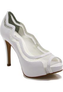 526f771694 Zariff. Sapato Com Salto Alto Branco Glitter Feminino Noiva Verniz  Sintético Peep Shoes Zariff Toe