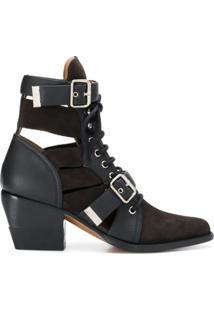 Chloé Ankle Boot Com Fivela - Preto