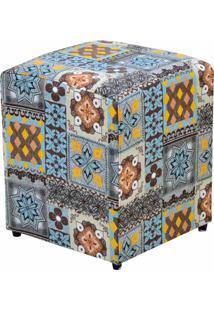 Puff Decorativo Lyam Decor Quadrado Azul Cinza