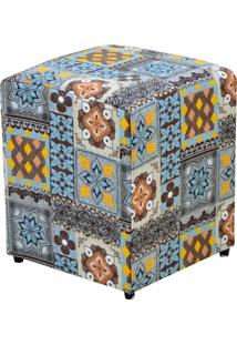 Puff Decorativo Lymdecor Quadrado Azul Cinza