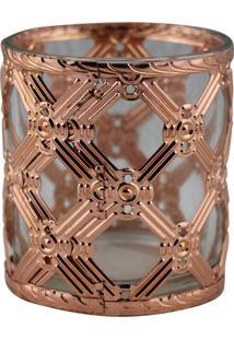 Castiçal Decorando Com Classe De Metal E Vidro Bronze 7,5Cmx8Cm