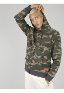 Blusão Masculino Em Moletom Estampado Camuflado Com Capuz Verde Militar