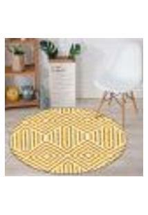 Tapete Redondo Wevans Geométrico Amarelo 94Cm