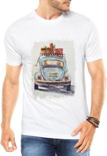 Camiseta Criativa Urbana Fusca Azul Branca