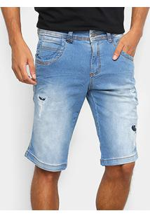 Bermuda Jeans Zune Estonada Rasgos Cintura Média Masculina - Masculino